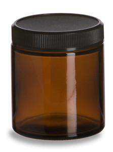 Medium Glass Amber Storage Jar