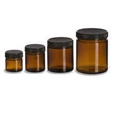 Full Set of 4 Glass Amber Storage Jars